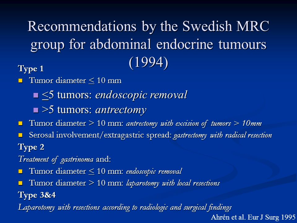 Recommendations by the Swedish MRC group for abdominal endocrine tumours (1994)