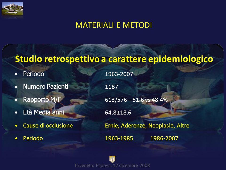 Studio retrospettivo a carattere epidemiologico