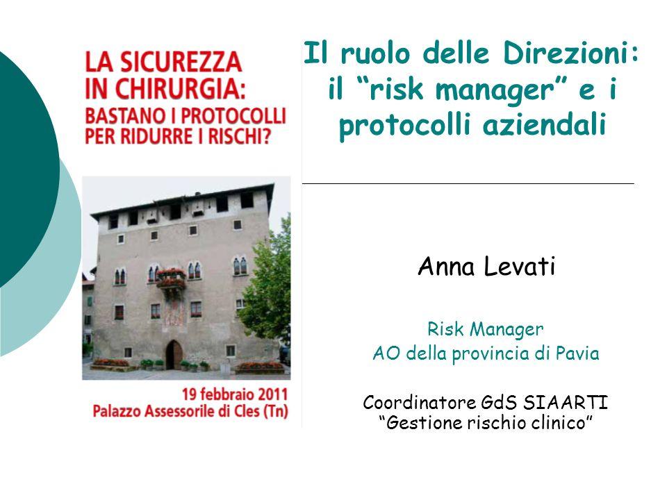 Il ruolo delle Direzioni: il risk manager e i protocolli aziendali