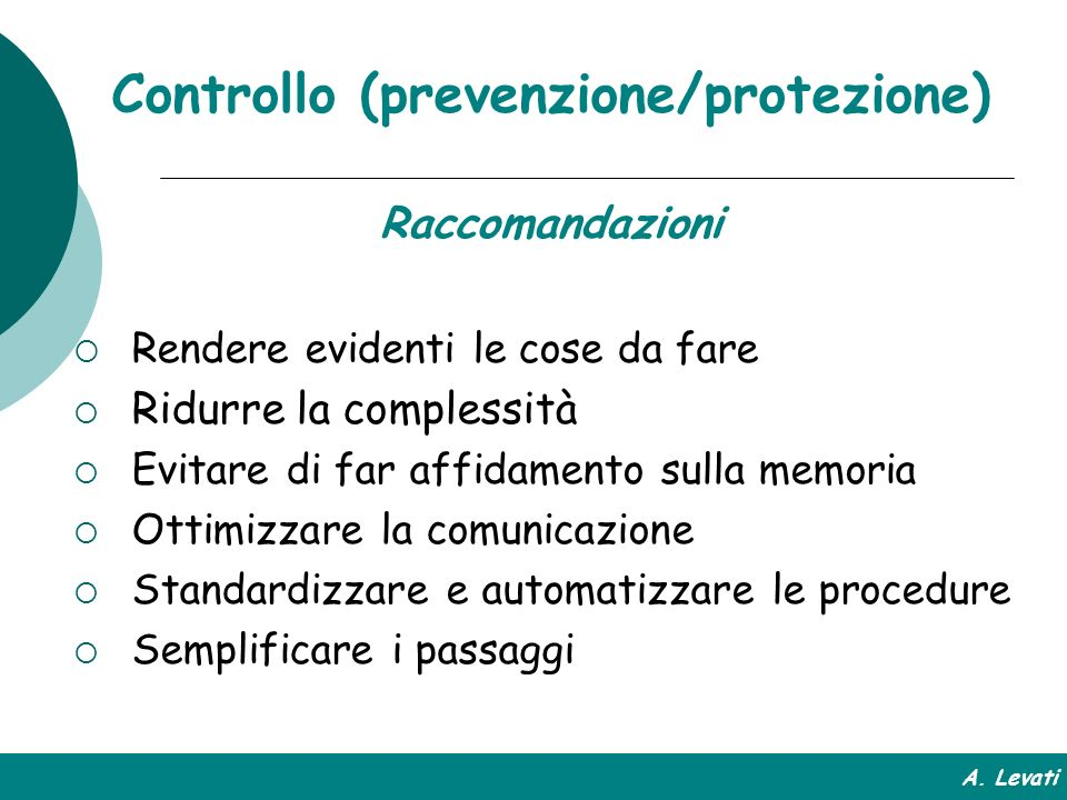 Controllo (prevenzione/protezione)