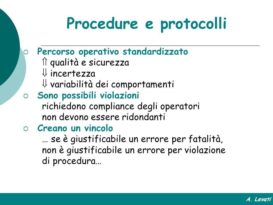 Procedure e protocolli