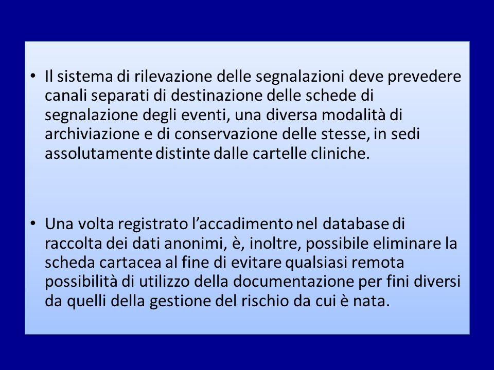 Il sistema di rilevazione delle segnalazioni deve prevedere canali separati di destinazione delle schede di segnalazione degli eventi, una diversa modalità di archiviazione e di conservazione delle stesse, in sedi assolutamente distinte dalle cartelle cliniche.