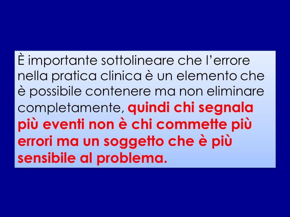 È importante sottolineare che l'errore nella pratica clinica è un elemento che è possibile contenere ma non eliminare completamente, quindi chi segnala più eventi non è chi commette più errori ma un soggetto che è più sensibile al problema.