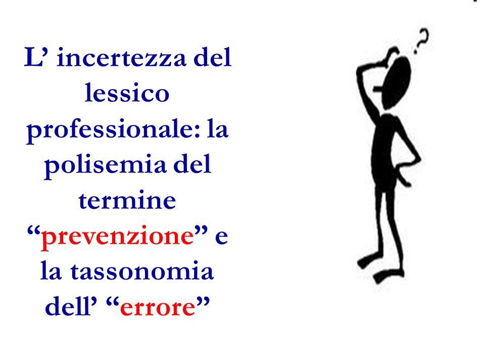 L' incertezza del lessico professionale: la polisemia del termine prevenzione e la tassonomia dell' errore