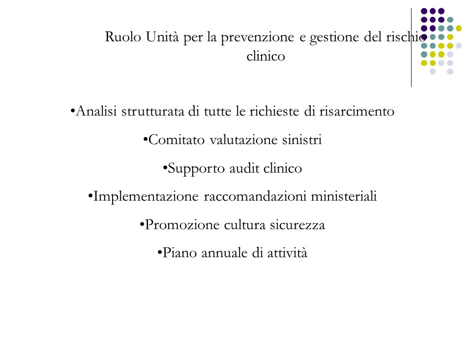 Ruolo Unità per la prevenzione e gestione del rischio clinico