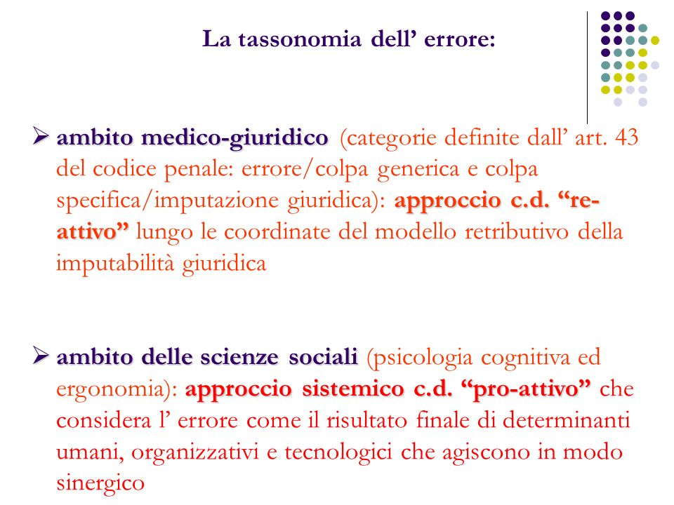 La tassonomia dell' errore:
