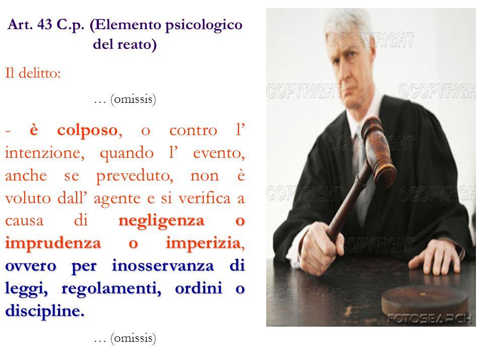 Art. 43 C.p. (Elemento psicologico del reato)