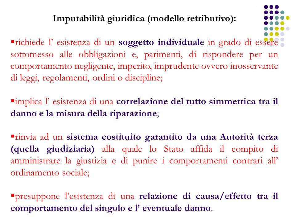 Imputabilità giuridica (modello retributivo):