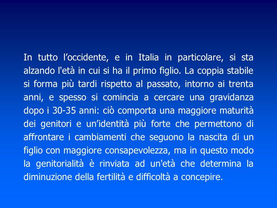 In tutto l'occidente, e in Italia in particolare, si sta alzando l età in cui si ha il primo figlio.