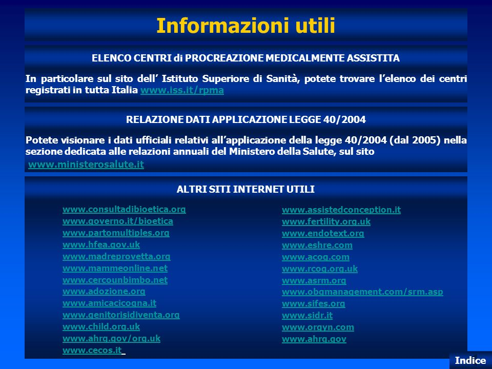 Informazioni utili ELENCO CENTRI di PROCREAZIONE MEDICALMENTE ASSISTITA.