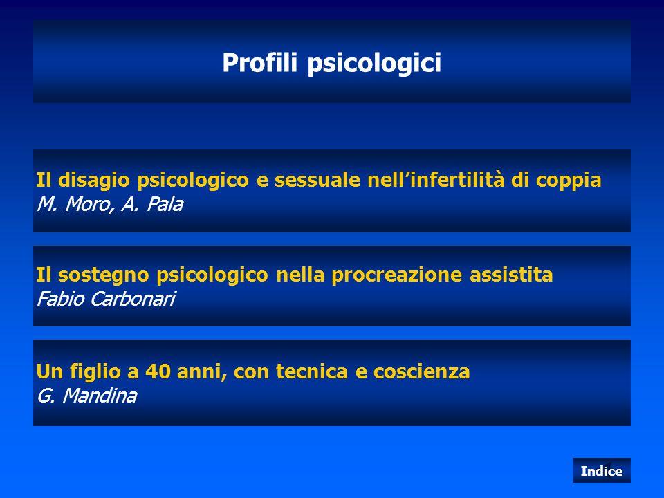 Profili psicologici Il disagio psicologico e sessuale nell'infertilità di coppia. M. Moro, A. Pala.