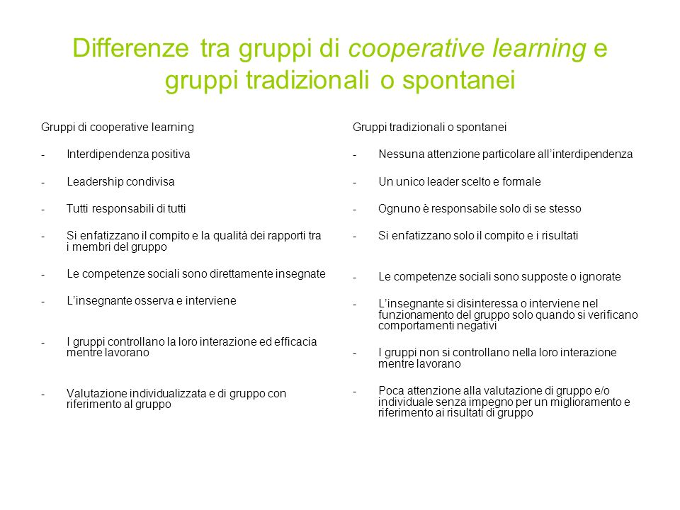 Differenze tra gruppi di cooperative learning e gruppi tradizionali o spontanei