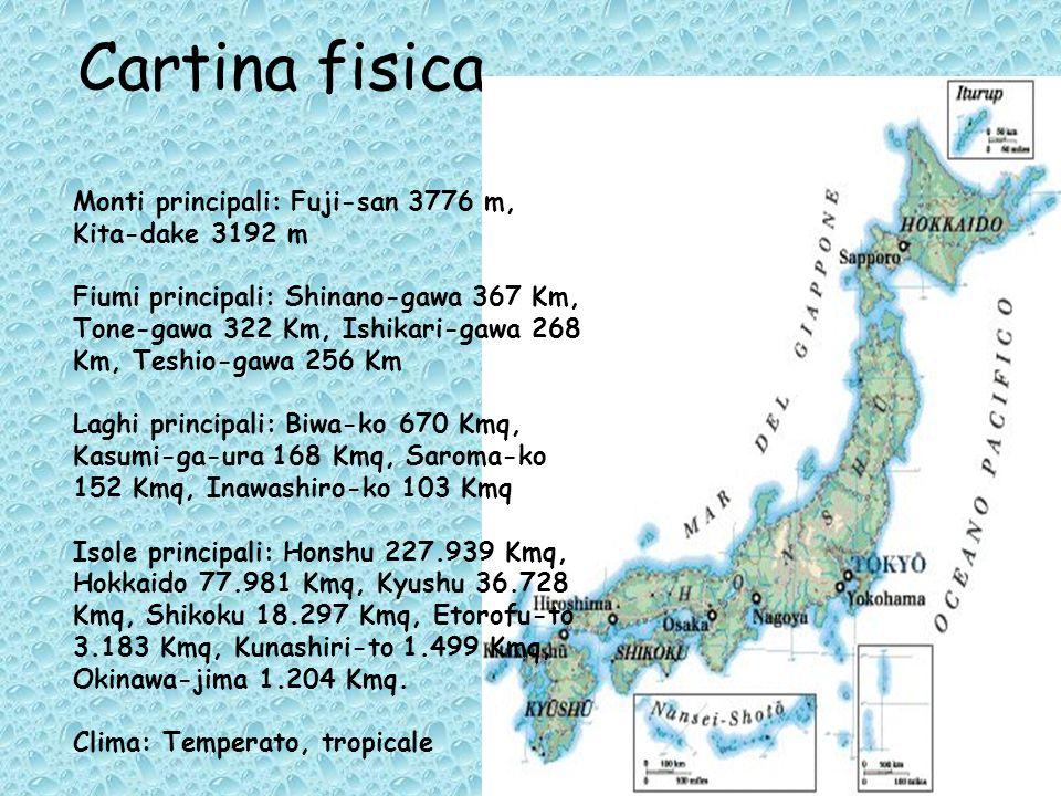 Cartina fisica Monti principali: Fuji-san 3776 m, Kita-dake 3192 m