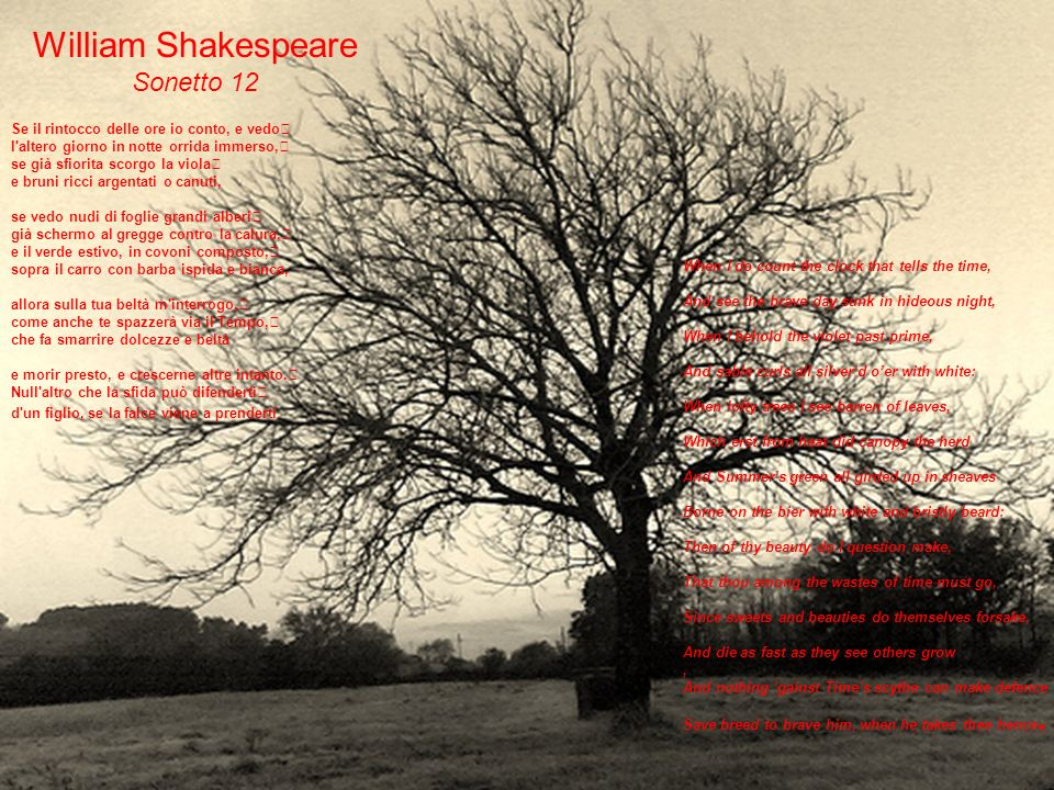 William Shakespeare Sonetto 12