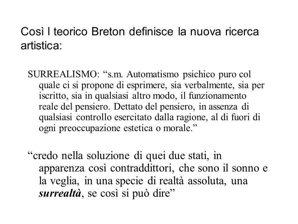 Così l teorico Breton definisce la nuova ricerca artistica: