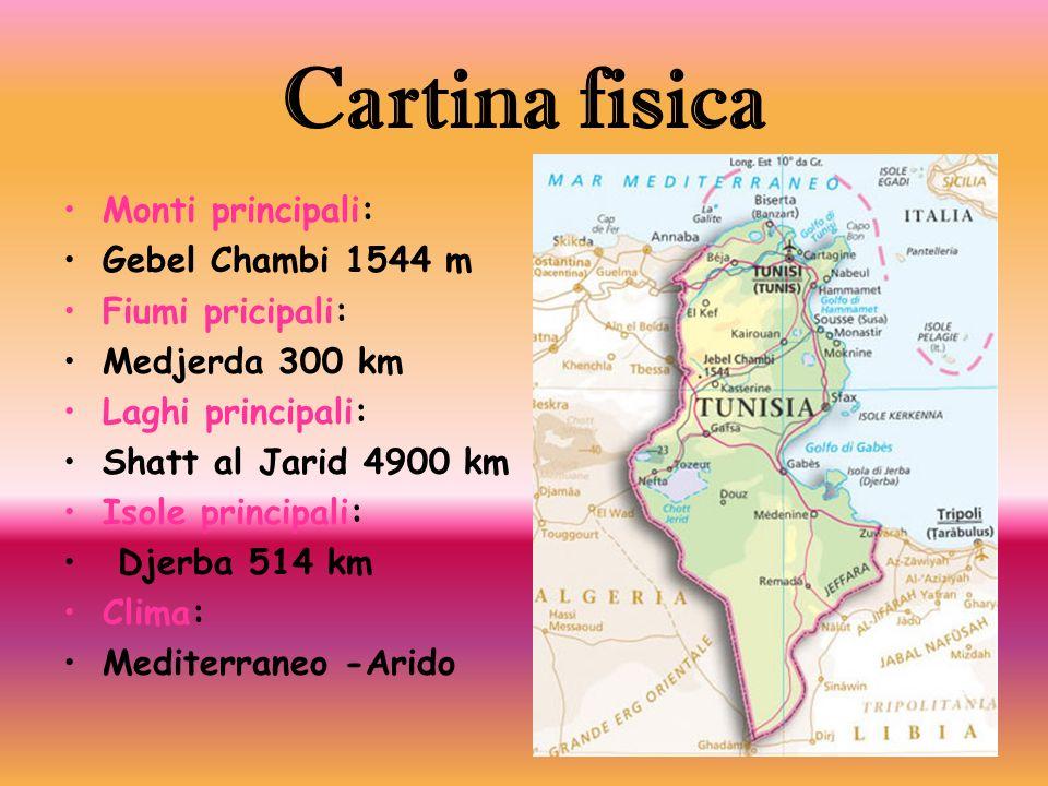 Cartina fisica Monti principali: Gebel Chambi 1544 m Fiumi pricipali:
