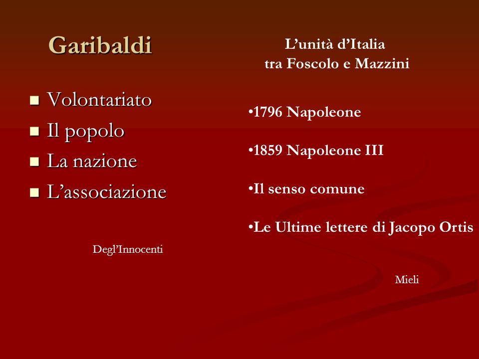 Garibaldi Volontariato Il popolo La nazione L'associazione