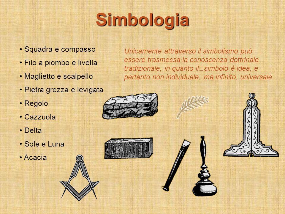 Simbologia Squadra e compasso Filo a piombo e livella