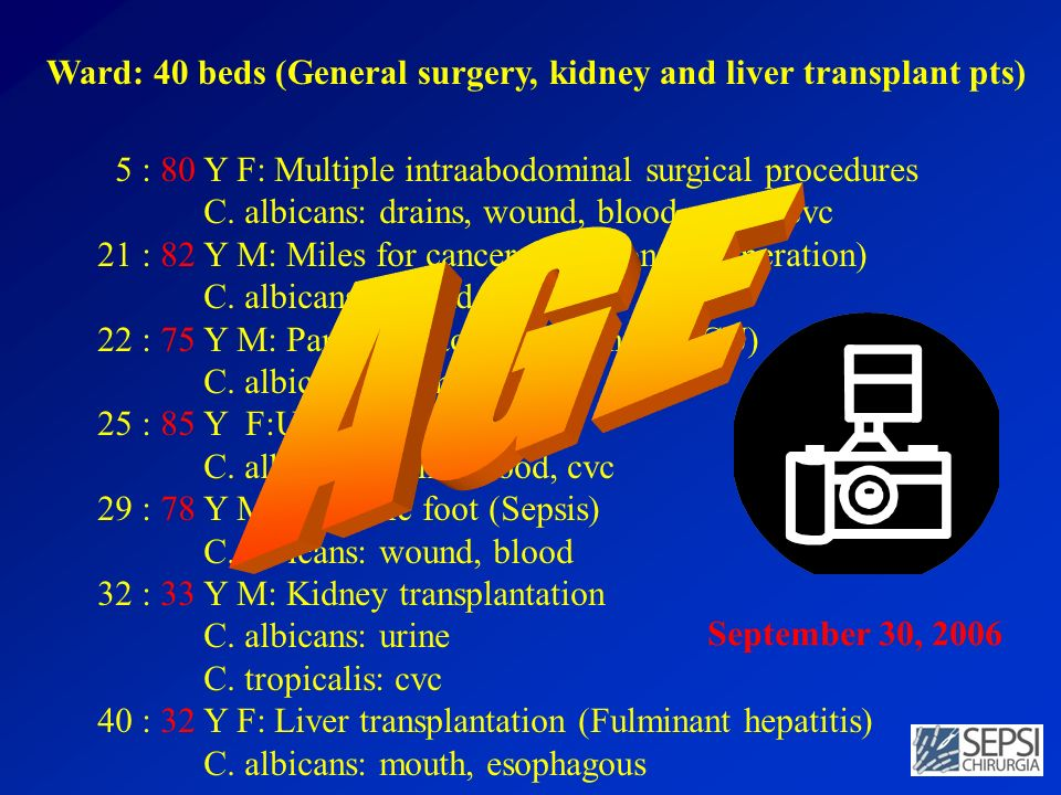 AGE Ward: 40 beds (General surgery, kidney and liver transplant pts)