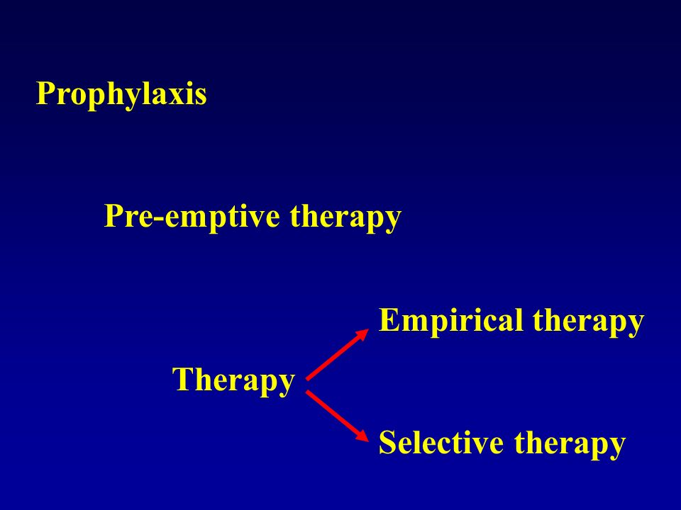 Prophylaxis Pre-emptive therapy Therapy Empirical therapy Selective therapy