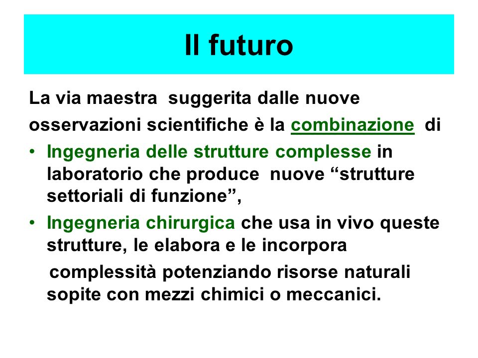 Il futuro La via maestra suggerita dalle nuove