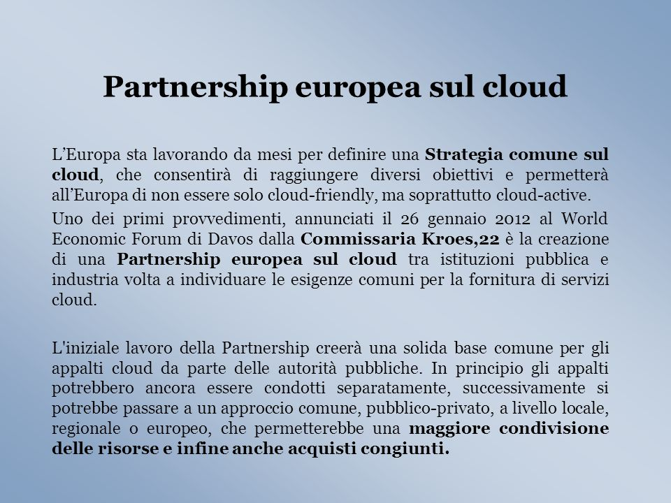 Partnership europea sul cloud