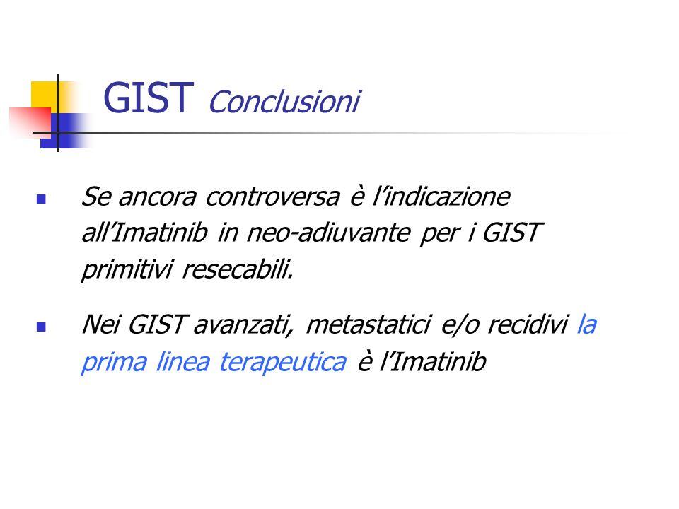 GIST Conclusioni Se ancora controversa è l'indicazione all'Imatinib in neo-adiuvante per i GIST primitivi resecabili.