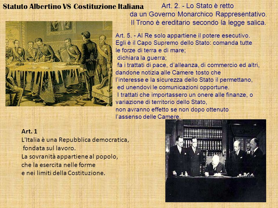 Statuto Albertino VS Costituzione Italiana