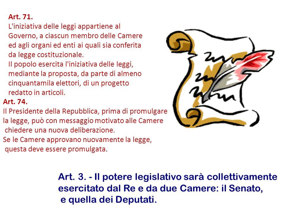 Art. 3. - Il potere legislativo sarà collettivamente