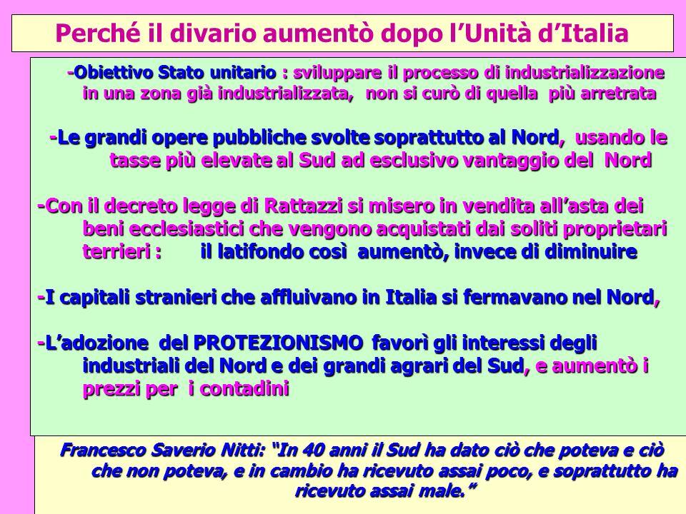 Perché il divario aumentò dopo l'Unità d'Italia