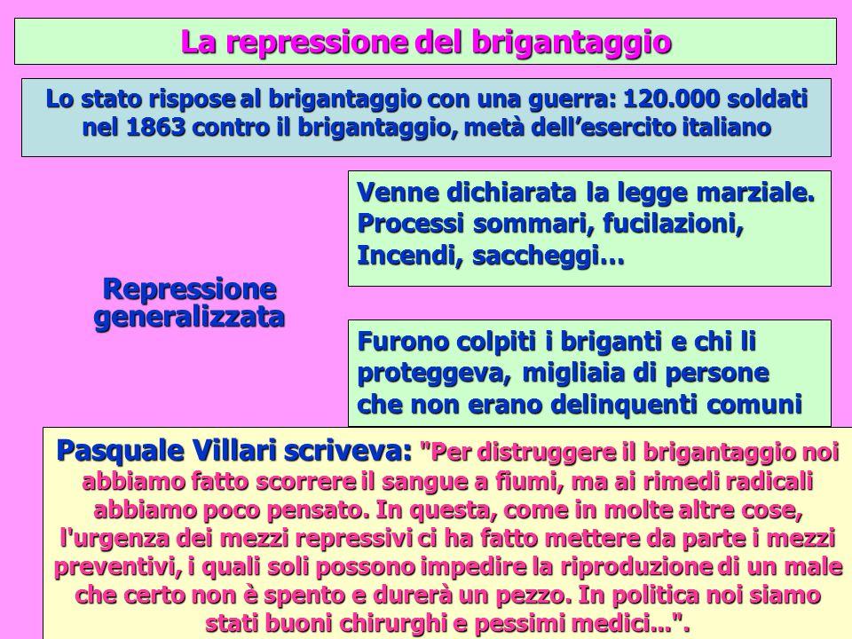 La repressione del brigantaggio Repressione generalizzata