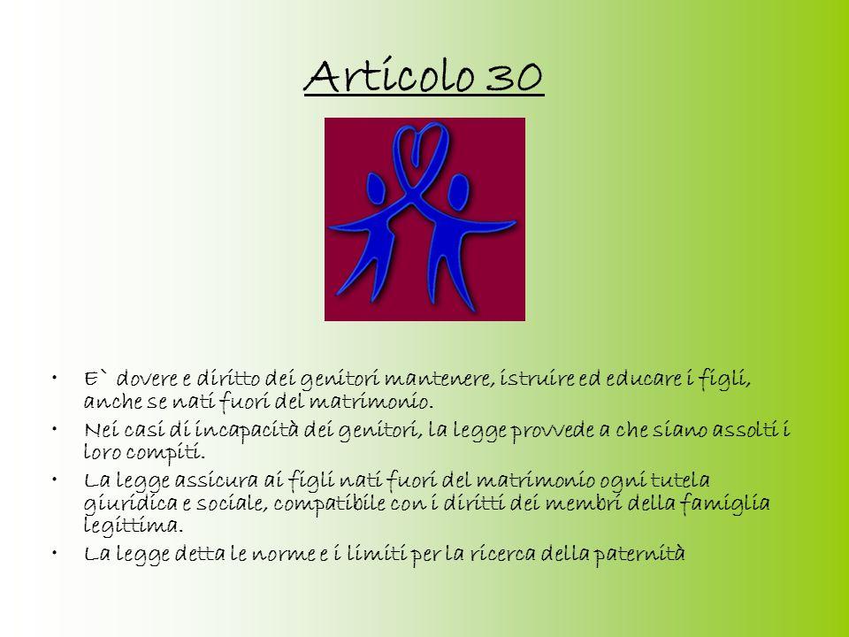 Articolo 30E` dovere e diritto dei genitori mantenere, istruire ed educare i figli, anche se nati fuori del matrimonio.