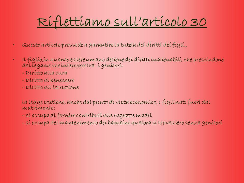 Riflettiamo sull'articolo 30