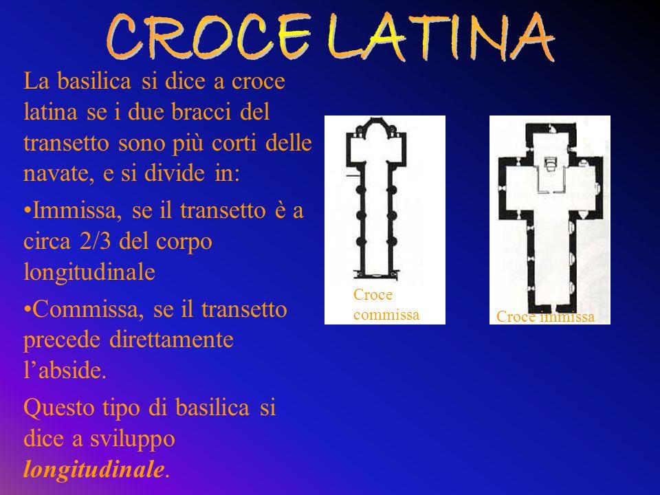 CROCE LATINA La basilica si dice a croce latina se i due bracci del transetto sono più corti delle navate, e si divide in: