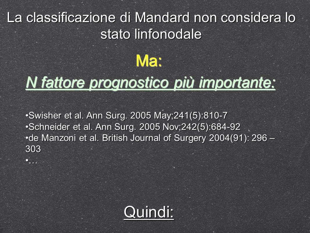 La classificazione di Mandard non considera lo stato linfonodale