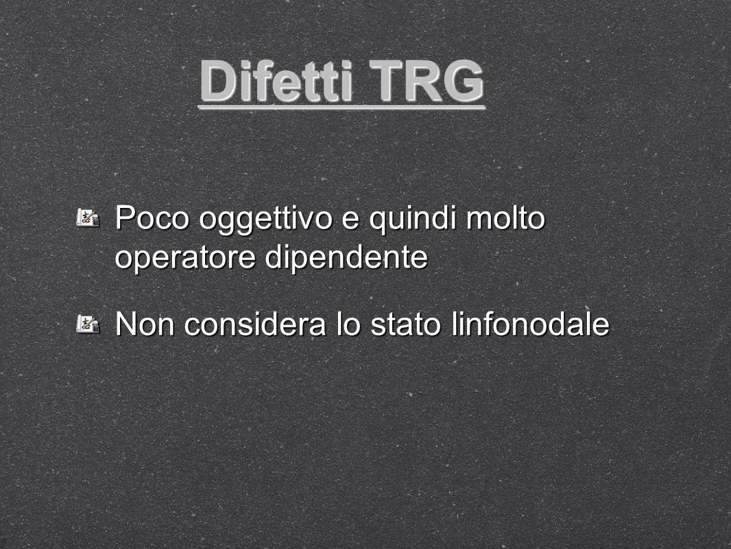 Difetti TRG Poco oggettivo e quindi molto operatore dipendente