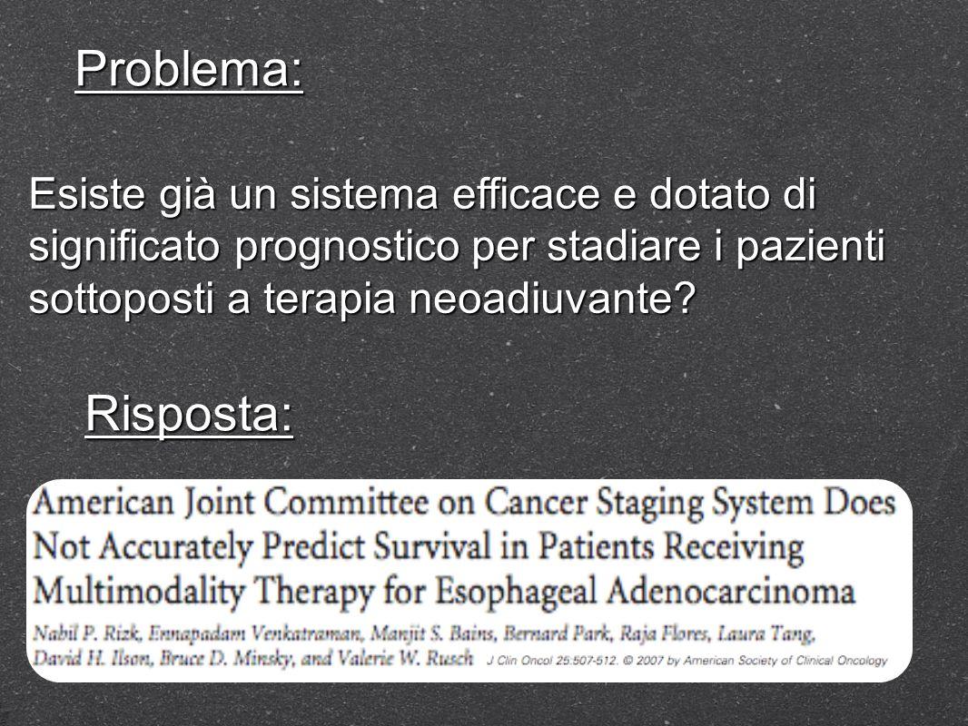 Problema: Esiste già un sistema efficace e dotato di significato prognostico per stadiare i pazienti sottoposti a terapia neoadiuvante