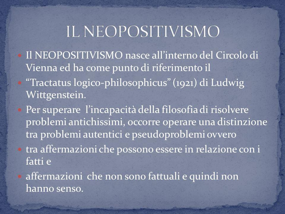 IL NEOPOSITIVISMO Il NEOPOSITIVISMO nasce all'interno del Circolo di Vienna ed ha come punto di riferimento il.