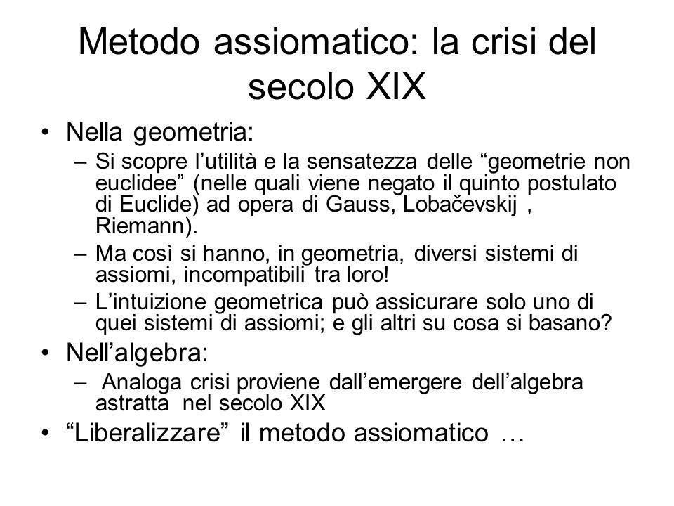 Metodo assiomatico: la crisi del secolo XIX