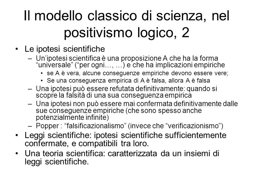 Il modello classico di scienza, nel positivismo logico, 2