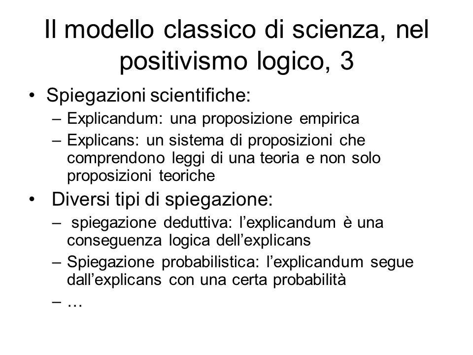 Il modello classico di scienza, nel positivismo logico, 3