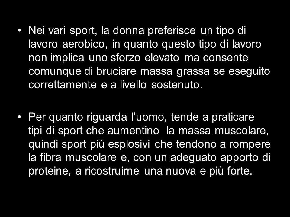 Nei vari sport, la donna preferisce un tipo di lavoro aerobico, in quanto questo tipo di lavoro non implica uno sforzo elevato ma consente comunque di bruciare massa grassa se eseguito correttamente e a livello sostenuto.