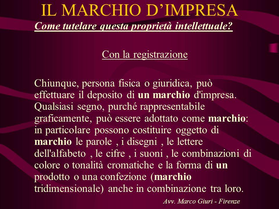 IL MARCHIO D'IMPRESA Con la registrazione