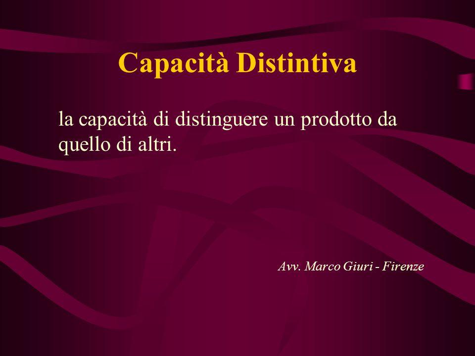 Capacità Distintivala capacità di distinguere un prodotto da quello di altri.