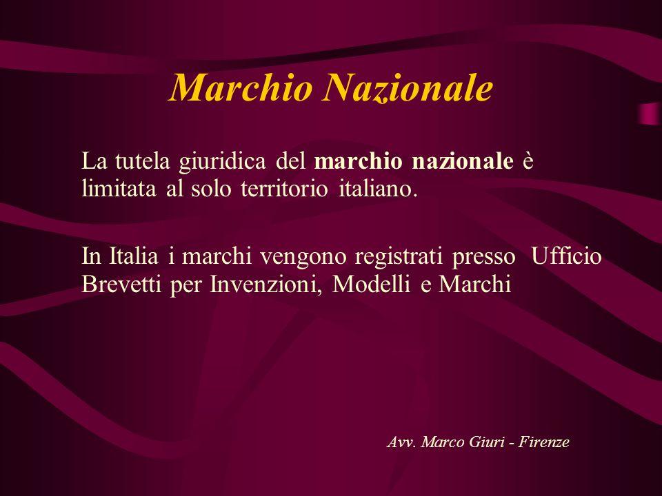 Marchio Nazionale La tutela giuridica del marchio nazionale è limitata al solo territorio italiano.