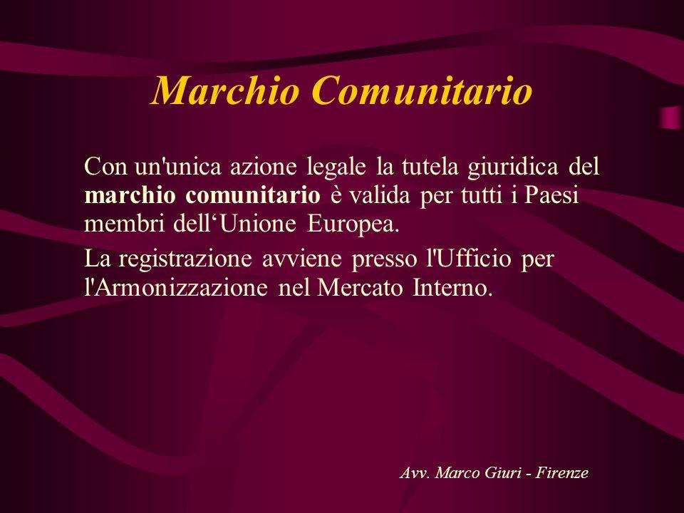 Marchio Comunitario Con un unica azione legale la tutela giuridica del marchio comunitario è valida per tutti i Paesi membri dell'Unione Europea.