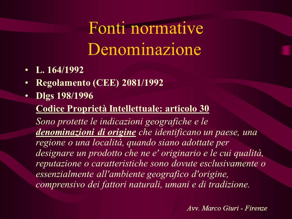Fonti normative Denominazione