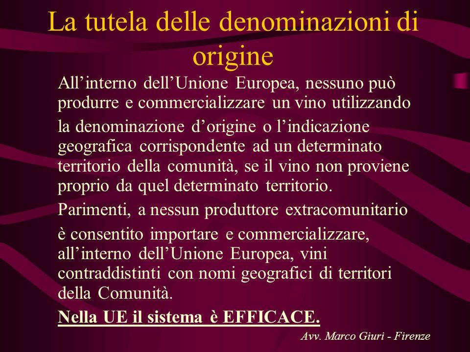 La tutela delle denominazioni di origine