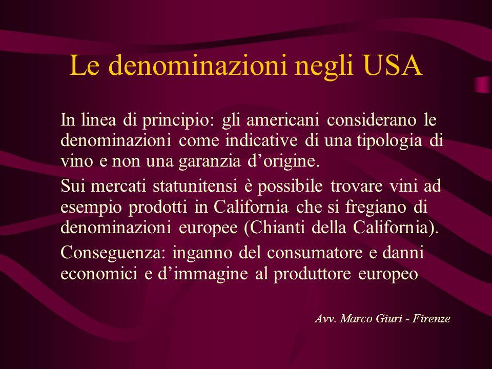 Le denominazioni negli USA