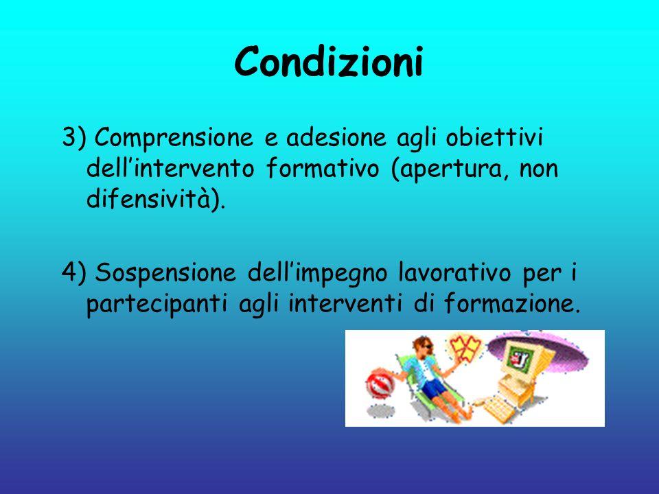 Condizioni3) Comprensione e adesione agli obiettivi dell'intervento formativo (apertura, non difensività).